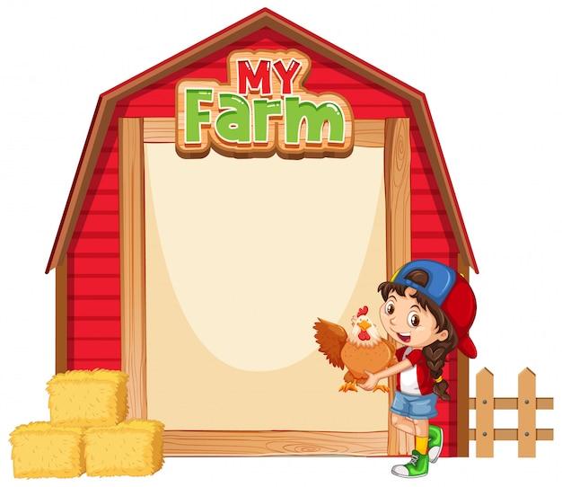Diseño de plantilla de borde con niña y pollo