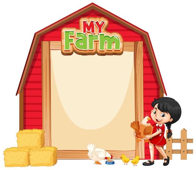 Diseño de plantilla de borde con niña y pollos