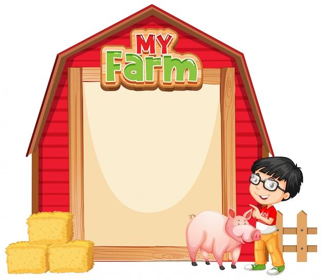 Diseño de plantilla de borde con niño y cerdo