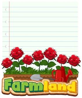 Diseño de plantilla de borde con rosas rojas en el jardín