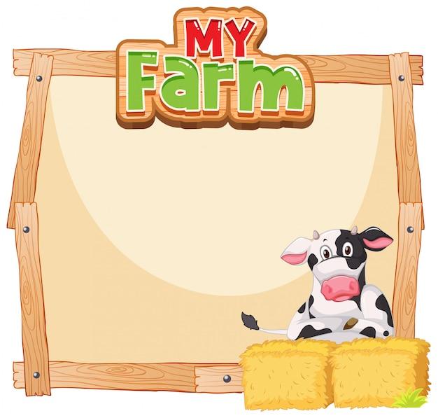 Diseño de plantilla de borde con vaca y heno