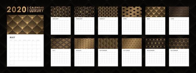 Diseño de plantilla de calendario 2020 de lujo.