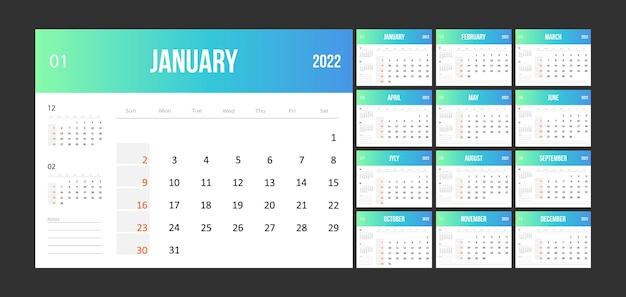 Diseño de plantilla de calendario 2022.
