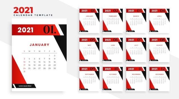 Diseño de plantilla de calendario de año nuevo 2021 en estilo geométrico