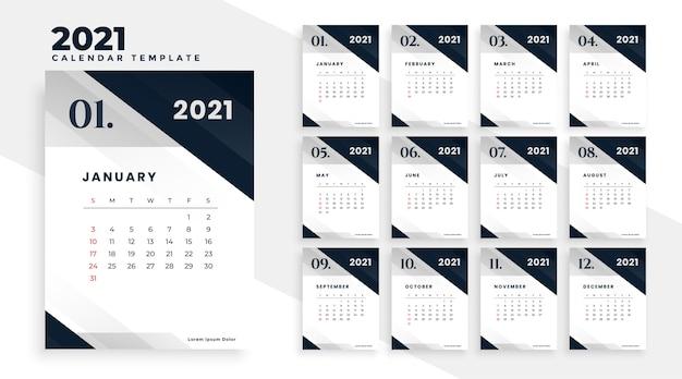 Diseño de plantilla de calendario elegante año nuevo 2021