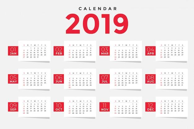 Diseño de plantilla de calendario limpio 2019