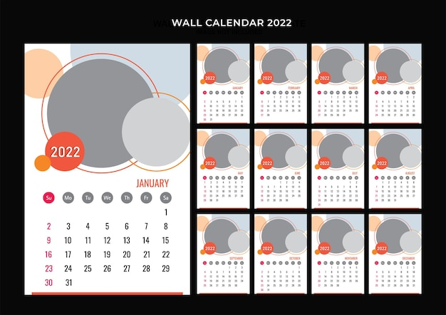 Diseño de plantilla de calendario de pared 2022
