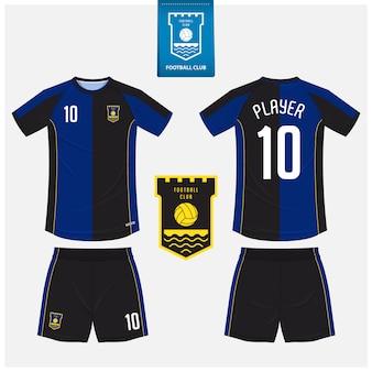 Diseño de plantilla de camiseta de fútbol o kit de fútbol.