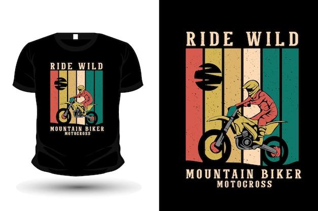 Diseño de plantilla de camiseta de ilustración de mercancía de ciclista de montaña
