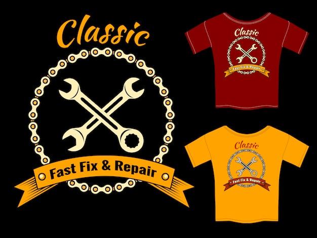 Diseño de plantilla de camiseta de reparación y reparación rápida mecánico de vector aislado sobre fondo negro.