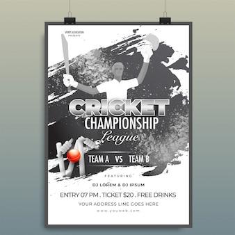 Diseño de plantilla de campeonato de cricket