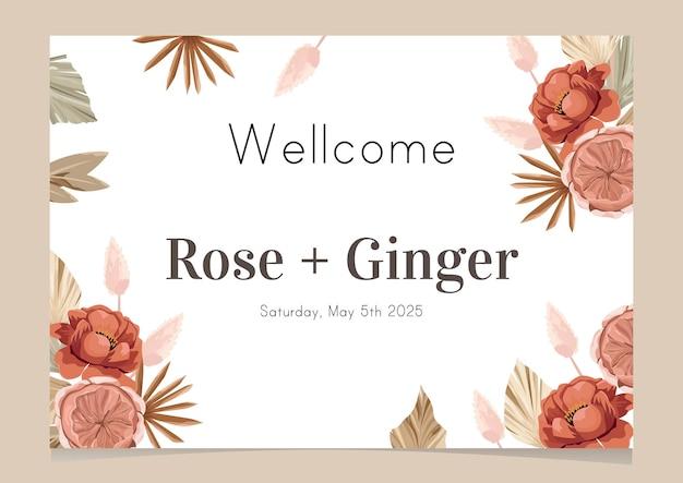 Diseño de plantilla de cartel de bienvenida de boda