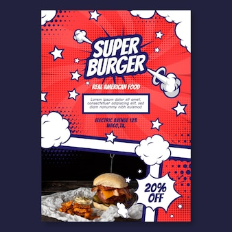 Diseño de plantilla de cartel de comida americana