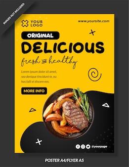 Diseño de plantilla de cartel de comida fresca y saludable