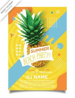 Diseño de la plantilla del cartel de la fiesta de playa de aloha