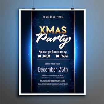 Diseño de plantilla de cartel de flyer de fiesta de navidad brillante