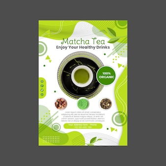 Diseño de plantilla de cartel de té matcha