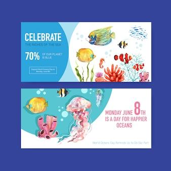 Diseño de plantilla de cartelera para el concepto del día mundial de los océanos con vector de acuarela de animales marinos