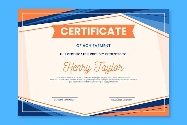 Diseño de plantilla de certificado abstracto