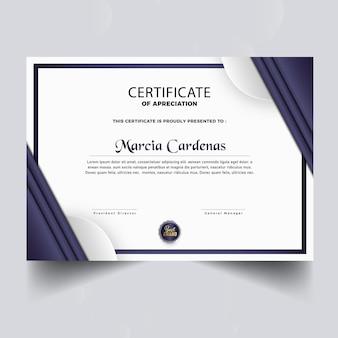 Diseño de plantilla de certificado de diploma moderno