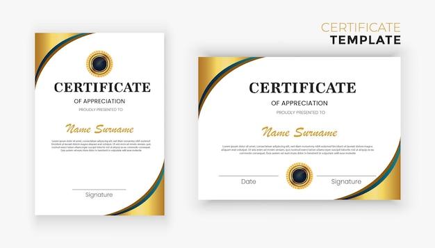 Diseño de plantilla de certificado de diploma de oro de lujo moderno