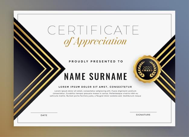 Diseño de plantilla de certificado dorado premium moderno