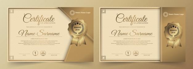 Diseño de plantilla de certificado dorado premium.