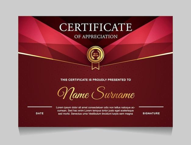 Diseño de plantilla de certificado con formas modernas de lujo en color dorado y rojo