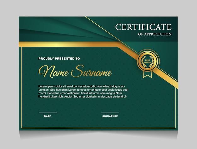 Diseño de plantilla de certificado con formas modernas de lujo