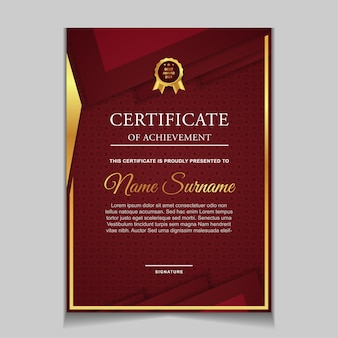 Diseño de plantilla de certificado con formas modernas rojas y de lujo.