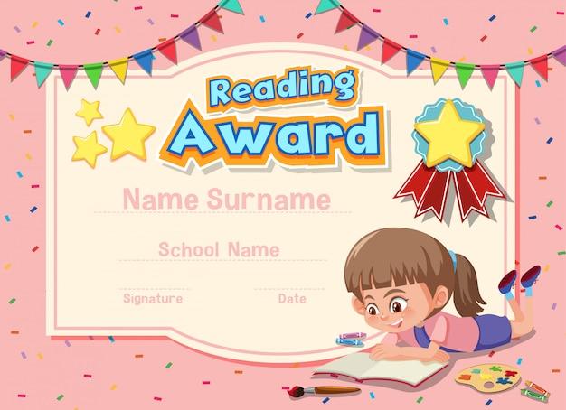 Diseño de plantilla de certificado para leer premio con libro de lectura de niña