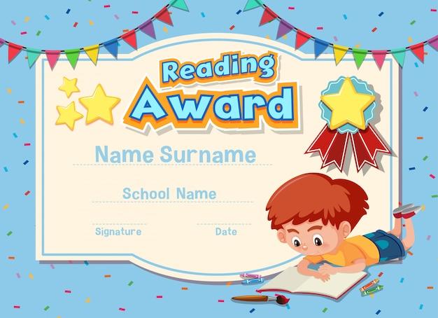 Diseño de plantilla de certificado para leer premio con libro de lectura de niño