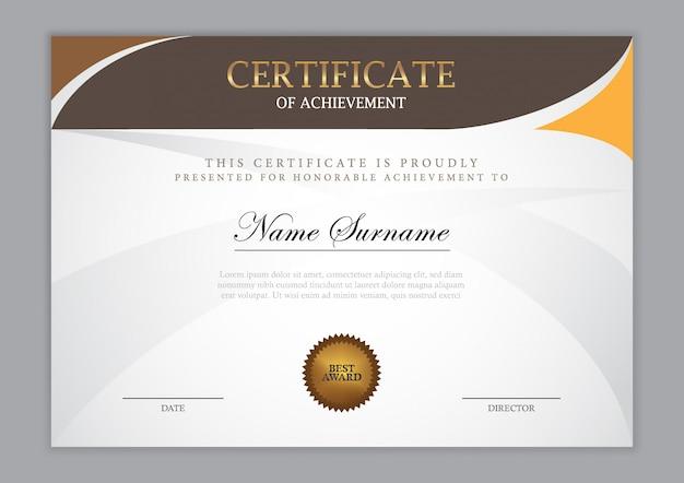 Diseño de plantilla de certificado de lujo con elemento de texto, diploma