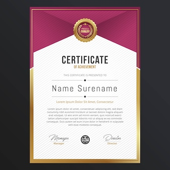 Diseño de plantilla de certificado de lujo
