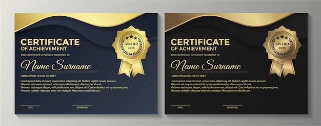 Diseño de plantilla de certificado negro dorado premium.