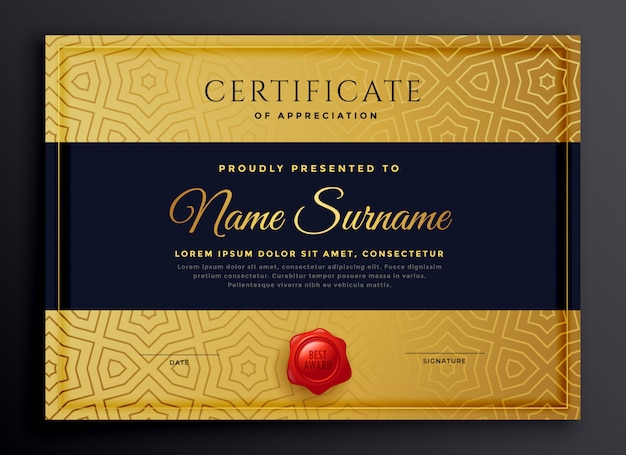 Diseño de plantilla de certificado de oro premium