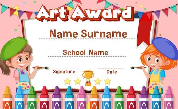 Diseño de plantilla de certificado para premio de arte con niños pintando en segundo plano.