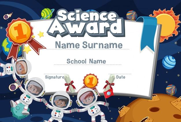 Diseño de plantilla de certificado para premio de ciencias con astronautas volando en el espacio