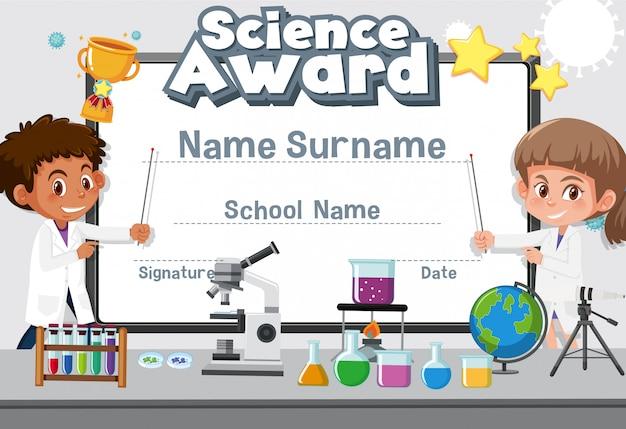Diseño de plantilla de certificado para premio de ciencias con dos estudiantes en laboratorio