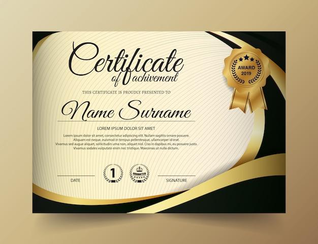 Diseño de plantilla de certificado premium dorado negro.