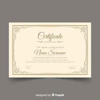 Diseño de plantilla de certificado retro