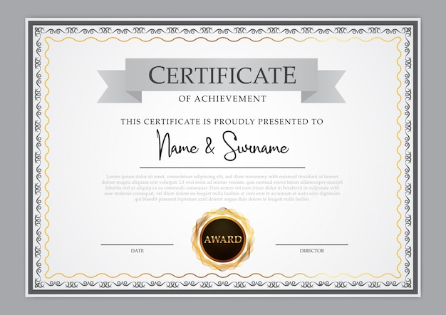 Diseño de plantilla de certificado vintage