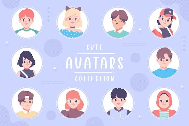 Diseño de plantilla de colección de avatar lindo dibujado a mano