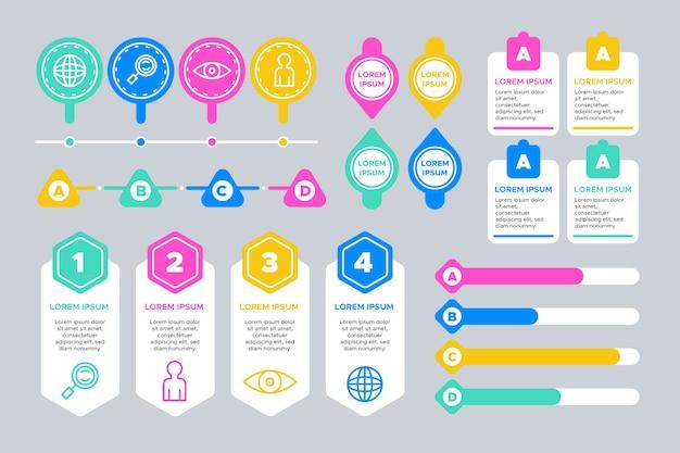 Diseño de plantilla de colección de elementos infográficos