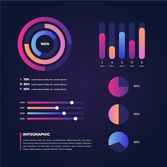Diseño de plantilla de colección de infografía degradado