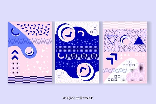 Diseño de plantilla con colección de portadas de memphis