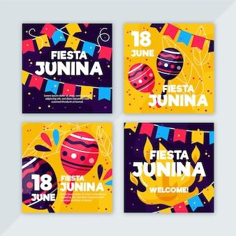 Diseño de plantilla de colección de tarjetas de festa junina