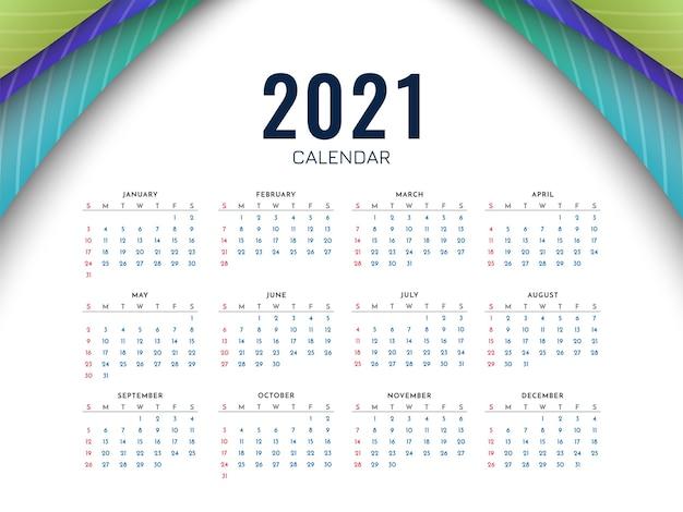 Diseño de plantilla colorida de calendario de año nuevo 2021