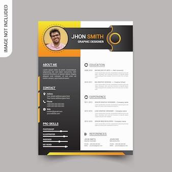 Diseño de plantilla de currículum profesional moderno