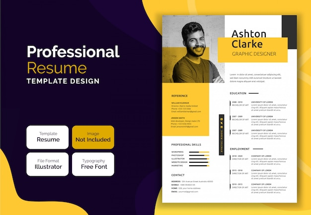 Diseño de plantilla de currículum vitae amarillo moderno